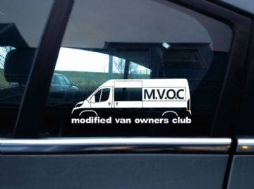 MVOC modified van owners club sticker -for peugeot boxer x290 2014- (v2: window)